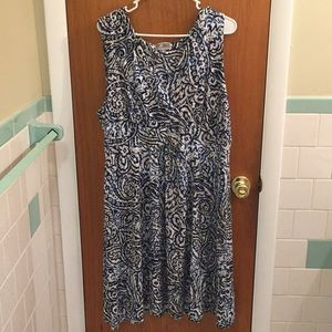 JM Collection XL Abstract Dress Blue Tan White
